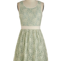 ModCloth Pastel Mid-length Tank top (2 thick straps) A-line Floral Arrange-Mint Dress