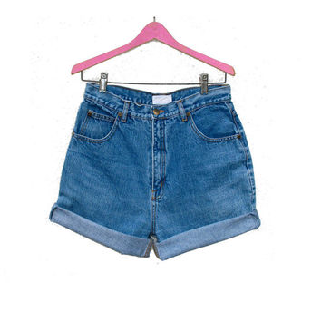 High Waist Jean Shorts DD Sloane Sport, Blue Denim Hipster Cut Offs Roll Up Shorts W 29 30