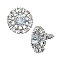 Simply Vera Vera Wang Silver Tone Simulated Crystal Flower Stud Earrings
