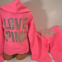 Victoria's Secret ~Pink~ Fleece Hoodie &  Flare pant, Gold Bling, PICK A SIZE