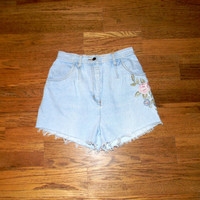 Vintage Denim Cut Offs - 80s ULTRA ICE Light Wash Upcycled/Embroidered/Distressed Jean Shorts, Cut Off/Frayed SHORT Shorts Size 5/6