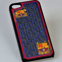 MagicPieces Plastic Snap on Case with Shaking Rhinestones and Maze 2014 Brasil FCB for iPhone 4/4S Black