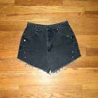 Vintage Denim Cut Offs. 80s Faded Black/Gunmetal Gray Jean Shorts. High Waisted/Cut Off/Frayed/Studded Designer ROUGHRIDER Shorts Size 11/12