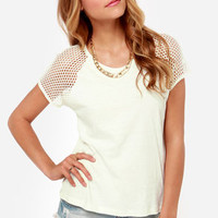 Obey Contact High Cream Mesh Top