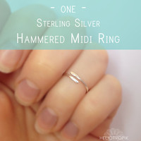Hammered Silver Midi Ring - Sterling Silver Knuckle Ring - Minimalist Silver Fingertip Ring -