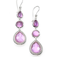 Amethyst, Mother-of-Pearl, Diamond & Sterling Silver Triple-Drop Earrings