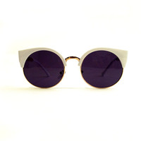 White and Gold Retro Cat Eye Sunnies
