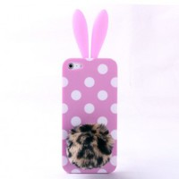 Cute Pink 3D Wave Point design Rabbit Ear and Leopard Tail Silicone Case for Iphone 4/4s/5 for big sale!
