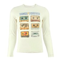 ZLYC Unisex Art Collection Songs Forever Music Tapes Print Pullover Sweatshirt