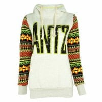 ZLYC Women's ANTZ Casual Hoodie with Knitted Neon Color Aztec