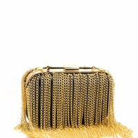 Chain Fringe Faux Leather Clutch