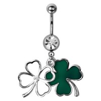 316L, C.Z., Clover, Shamrock, St. Patrick's Day, Belly Rings