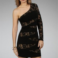 Black/Nude Lace One Shoulder Dresses :: www.windsorstore.com