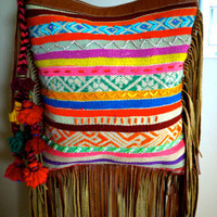 Colorful Boho Andean Textile Fringe Bag by KanikaCreations on Etsy