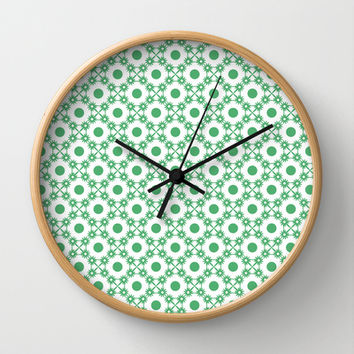 Snow Flakes and Dots Pattern Wall Clock by Danflcreativo