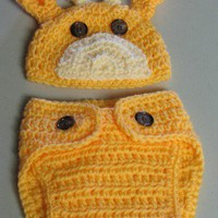 Hand Crocheted Newborn Baby Giraffe Hat and Diaper Cover Set | HatMaker - Accessories on ArtFire