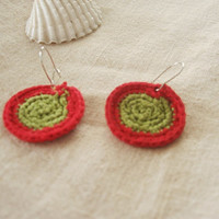 Red and Greed hand crocheted embroidery floss earrings