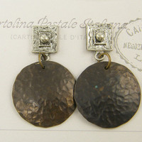 Hammered Brass Earrings - Tribal Post Mixed Metal Jewelry