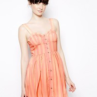 Nishe Stripe Buttoned Dress With Bust Strap Detail