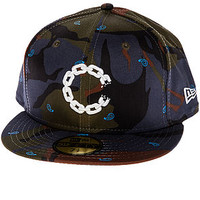 The Chain C Fitted Hat in Indigo Camo
