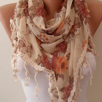 Beige Brown and Orange Linen Scarf with Beige Trim by SwedishShop