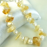 Citrine Gemstone Nuggets, White Freshwater Pearl Bracelet, Yellow, Golden, 8 Inch | dianesdangles - Jewelry on ArtFire