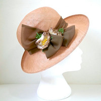 Wide Brim Vintage Straw Hat - Accent Bow & Flowers - Pale Brown Band - Pale Terracotta Straw - Romantic Style - Garden Party