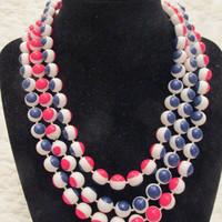 1970s Necklace Red White and Blue Beads 54 inches long