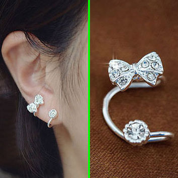 Bow And Round Rhinestone Ear Cuff (Silver,Single, No Piercing)