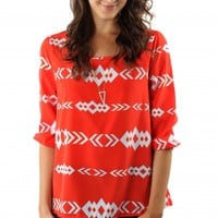Coral Tribal Print Blouse