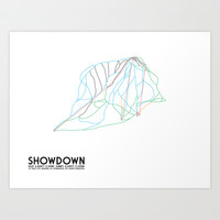 Showdown, MT - Minimalist Trail Art Art Print by CircleSquareDiamond