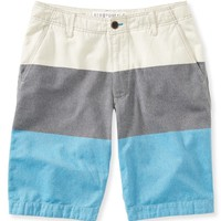 Oxford Stripe Flat-Front Shorts