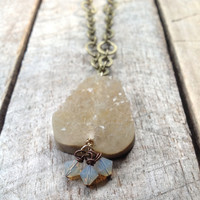 Drusy Quartz Druzy Quartz Drusie Quartz Necklace Pendant Long Antique Brass Swarovski crystals