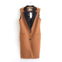 KCLOTH Women's Sleeveless Jacket with Long Line Cutting T1518