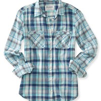 Long Sleeve Sheer Plaid Mix Woven Shirt