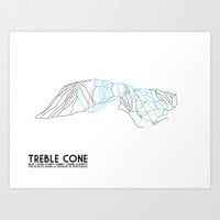 Treble Cone, Wanaka NZ - Minimalist Trail Art Art Print by CircleSquareDiamond