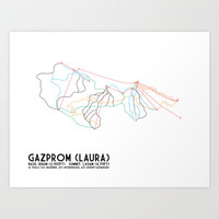 Gazprom (Laura) Mountain Resort, Sochi, Russia - North American Edition - Minimalist Trail Art Art Print by CircleSquareDiamond