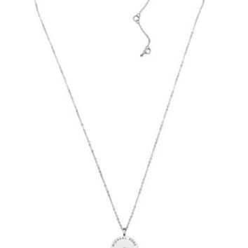 Michael Kors Logo Disc Necklace, Silver Color