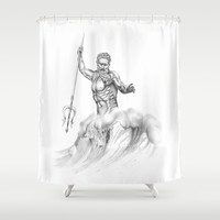 Poseidon Shower Curtain by NikKey