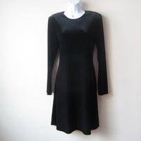 90s Black Stretch Velvet Dress, Witchy Nu Goth Babydoll Skater Dress, PLUS SIZE FRIENDLY