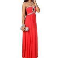 Natia- Coral Strapless Long Prom Dress
