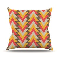"Julia Grifol ""My Triangles in Red"" Orange Brown Throw Pillow"