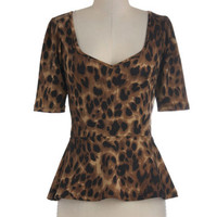 Giddy City Top in Leopard | Mod Retro Vintage Short Sleeve Shirts | ModCloth.com