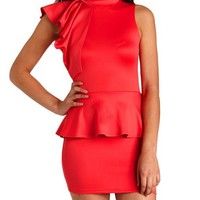 Mock Neck Ruffled Peplum Dress