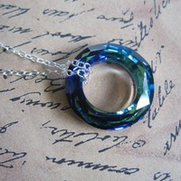 Cosmic Ring Necklace brilliant faceted blue by WinterberryJewelry
