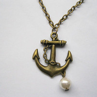necklaceantique bronze anchor and imitation by laceinspring