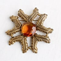Vintage Amber Brown Glass Stone Brooch - Huge Hallmarked Authenics Statement Gold Tone Costume Jewelry Pin