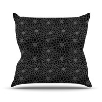 "Julia Grifol ""Black Flowers"" Dark Floral Throw Pillow"