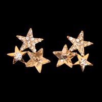 Star Trinity Rhinestone Earrings