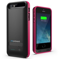 Maxboost Atomic S External Protective iPhone 5S Battery Case / iPhone 5 Battery Case with Built-in Kickstand - Matte Black / Pink (Apple MFI Certified, Fits All Versions of iPhone 5 / 5S - Lightning Connector Output, MicroUSB Input ) [100% Compatible with